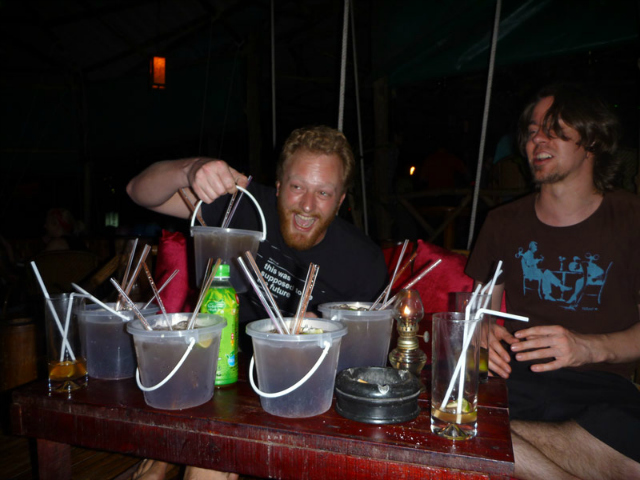 Magic Garden Bar buckets Lonelybeach Koh Chang Thailand