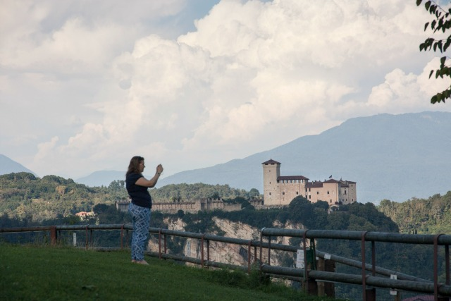 Taking pictures at Rocca di Arona Italy