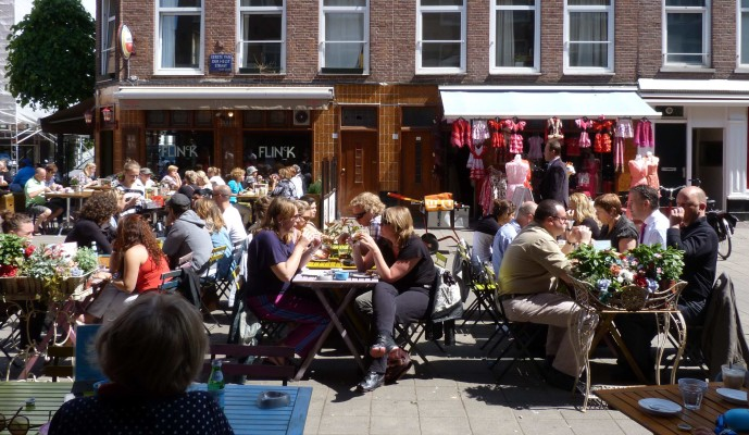 Terrace cafes in the Pijp, Amsterdam
