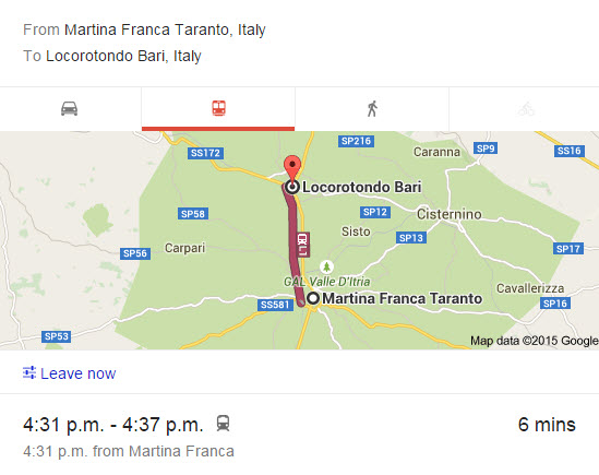 Train from Martina franca to Locorotondo