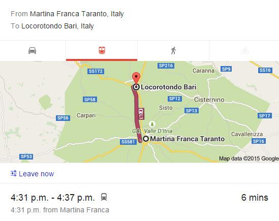 Train from Martina franca to Locorotondo