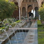 Alhambra Palace Fountains in garden Granada