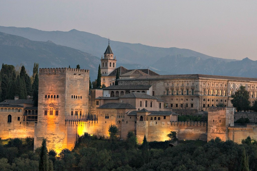Evening view of Alhambra Palace and Sierra Nevada Mountains