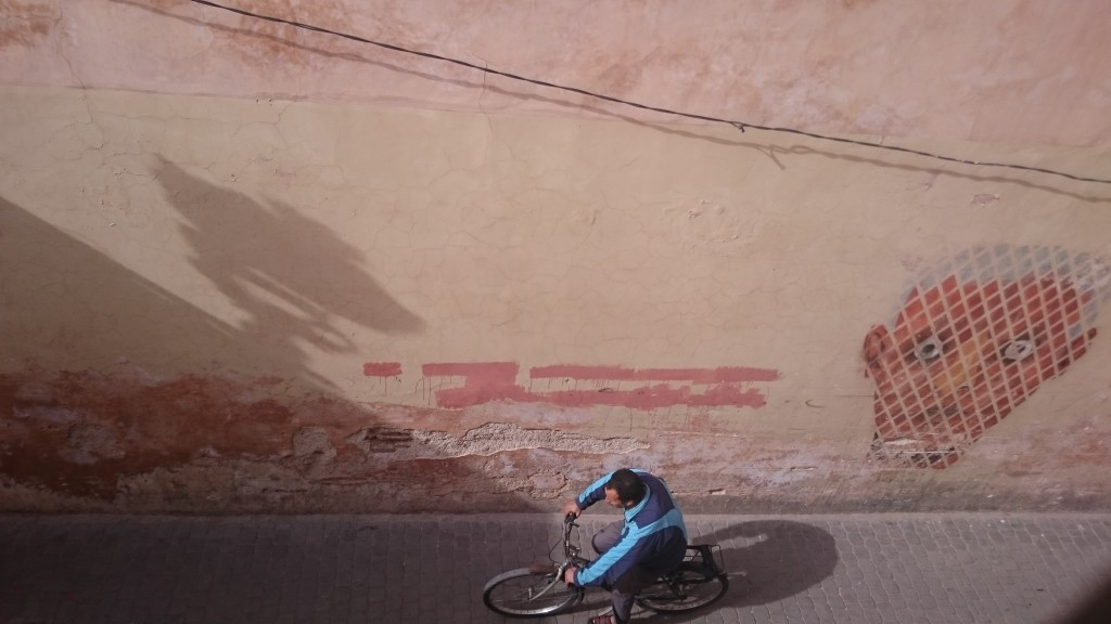 Street art outside Ben Youssef Madrasa Marakesh Morocco