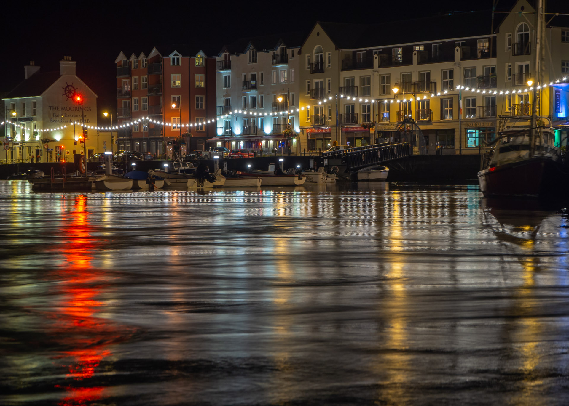 Dungarvan Harbour Waterford at night