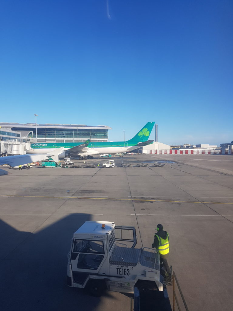 Aer Lingus Dublin Airport blue skies