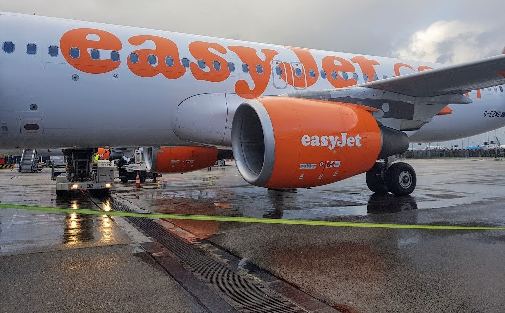 Easyjet plane from Amsterdam to Belfast